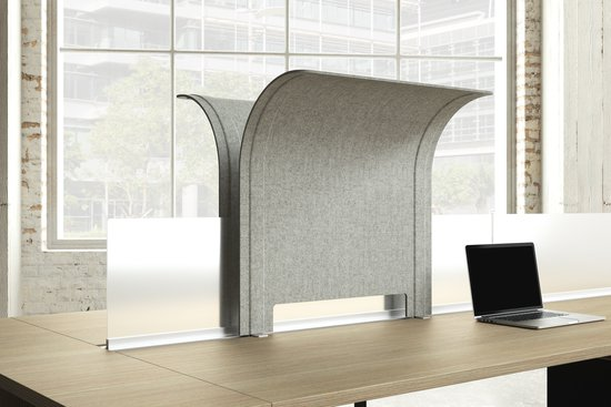 Flux acoustic PET edge-mount privacy hood and acrylic privacy screen