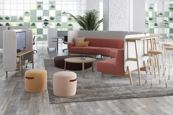 Cāav modular privacy lounge with stand-up surfaces and media credenza, Indie poufs and occasional tables