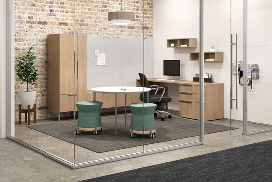 Flux Casegoods with Newton Swivel Chair and Collective Motion Pods