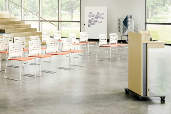 Hoopz Chairs with Native Lectern and Lok Mobile Markerboard