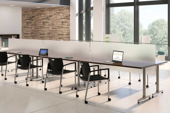 Learning - Lok T-base training tables with acrylic privacy screens