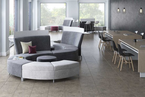 Ziva modular lounge and stand-up surfaces with Wink seating and Reef tables